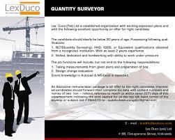 quantity surveyor job vacancy in sri lanka skilled dedicated and hardworking ability to work under pressure