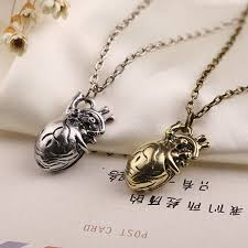 whole anatomical heart necklace vintage anatomy heart antique silver and bronze pendant jewelry for men