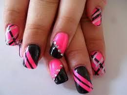 hot pink black strips nails