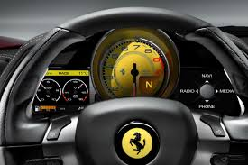 ferrari 458 white interior. on the 458 italia main commands are grouped steering wheel while secondary ones set in two satellite pods either side of dash ferrari white interior