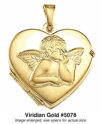 locket size photos cherub angel gold heart locket 5078