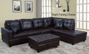 low profile espresso faux leather sectional sofa w right arm chaise storage ottoman