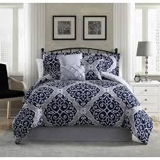 camille navy grey 7 piece full queen comforter set