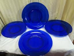blue glass dinner plates vintage anchor hocking cobalt blue glass dinner plate set 2 blue glass blue glass dinner