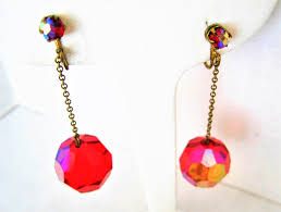 red glass chandelier earrings vintage disco ball red prism dangle clip ons