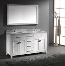 bathroom double sink vanities. White Wall Mounted Square Mirror Over Round Undermount Double Sink Vanity Also Marble Top Bathroom Vanities L