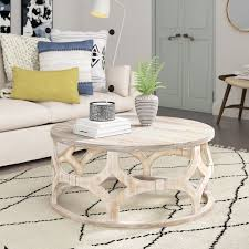 whitewashed round coffee table you ll