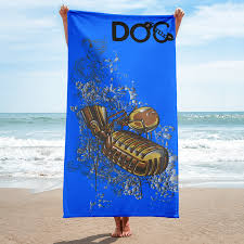 Designer Beach Towels Doc The Mic Blue Designer Beach Towel