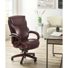 la z boy hyland coffee brown bonded leather executive office chair