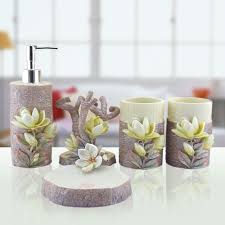 decorative bathroom accessories sets. hand engraved plant 5pcs lily sculpture resin bathroom accessories set art bath toothbrush holder soap dish wash decors-in sets decorative m