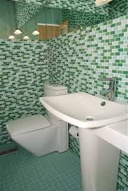residential bathroom in prism squared 1 x 2 glass subway tiles parisian blend photo