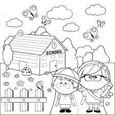 Kinderen Op School Zwartwit Boekenpagina Kleurplaten