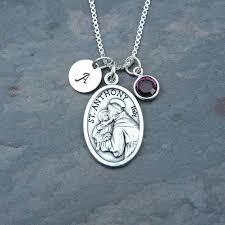 saint anthony necklace picture of saint st anthony necklace personalized swarovski crystal