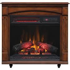 chimneyfree electric infrared quartz fireplace with remote 5 200 btu cherry