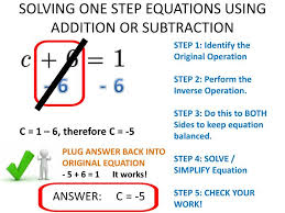 solving one step equations using addition or subtraction