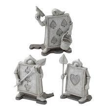 trump solr disney alice in wonderland garden object statue 3 set