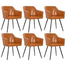 Esszimmerstuhl 6 Stk Braun Kunstleder Esszimmerstühle