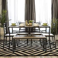 best choice s modern 6 piece 55in modern wood dining table set furniture w