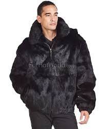 lucas black rabbit fur hooded er jacket for men