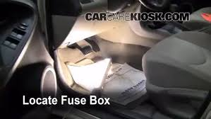 interior fuse box location 2006 2012 toyota rav4 2007 toyota rav4 Cover for 2010 RAV4 Engine locate interior fuse box and remove cover