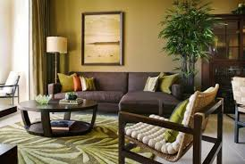 Green And Brown Living Room Contemporary With Regard To
