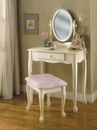 Bedroom Vanity | Off White Bedroom Vanity Set with Pastel Pink Bench ...