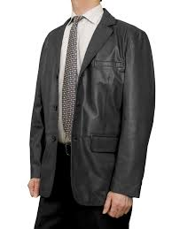 mens luxury leather blazer jacket 3 on black