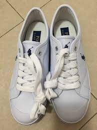 polo ralph lauren white leather sneakers size 35 5 women s fashion shoes sneakers on carou
