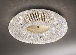 carla gold 3 light crystal flush ceiling light kolarz lighting