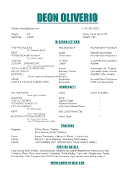 Musical Theatre Audition Resume Template With Special Skills List