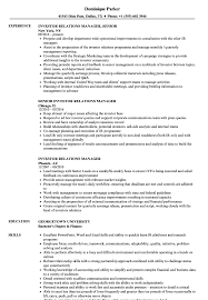 Download Investor Relations Manager Resume Sample as Image file
