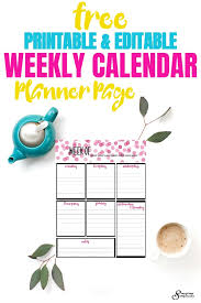 Free Weekly Calendar Planner Printable: Full And Half Size Single Page