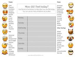 Daily Mood Chart Template Free Printable Feelings Chart Instant Download