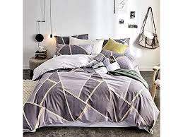 geometric plaid duvet cover king cotton