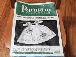 Peri Lusta Conversion Chart Vintage Paragon Floral Hostess Apron Stamped Cross Stitch Embroidery Kit Everglazed Blue Cotton Mcm Traditional 50s 60s