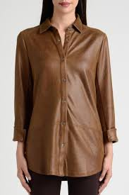 lynn ritchie faux leather shirt front cropped image