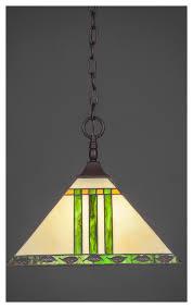 chain hung pendant dark granite 14 green and metal leaf tiffany glass