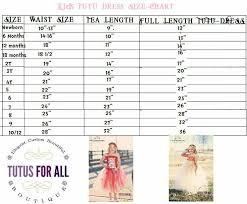 Tutu Dress Size Chart Tutu Size Chart Waisy Tea Length And Full Length Tutu