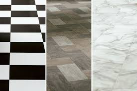 vinyl tile available in black and white wood look and marble look