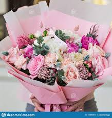 How To Wrap Flower Bouquet In Paper Beautiful Bouquet In Pink Wrapping Paper Roses And Other