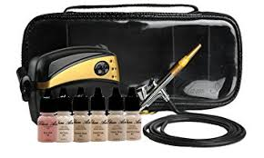 glam air airbrush makeup machine system with 5 dark matte shades of foundation and airbrush blush