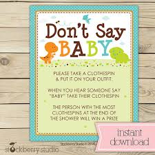 Baby Shower Clothes Pin Game New Dinosaur Baby Shower Don't Say Baby Game Printable Dinosaurs Boy