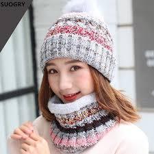 Winter New Warm Girls Beanies+Scarf Sets Knit Fight Color <b>Women</b> ...