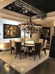 the overall look of this luxury dining room is modern until closer inspection