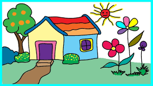 tập vẽ và tô màu ngôi nhà, cây cối, vườn hoa, ông mặt trời cùng bé - YouTube