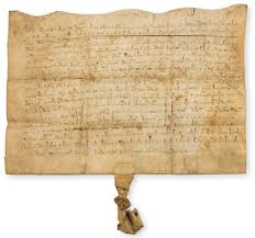 LOT:89 | Medieval charter.- Indenture, Agnes widow of Thomas fflochiere  lease of land to Adam Diny in Ethynebrigge, manuscript in Latin, on vellum,  in brown ink, 19 lines, very small fragment of