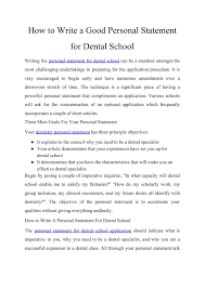 How To Write A Good Personal Statement For Dental School