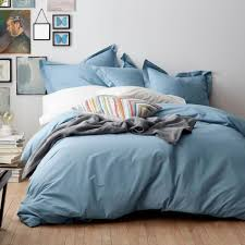 cstudio home by the company 2 piece dusty blue organic percale twin duvet cover