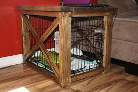 dog crate end table mahogany