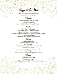 New Year Menu New Years Eve Dinner Signature Of Solon 2016 12 31